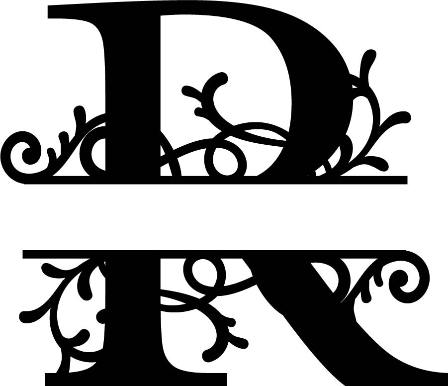 Split Monogram Letter R DXF File Free Download   3axis.co