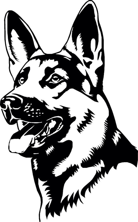 german shepherd coloring page vector dxf file free download