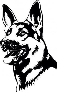 German Shepherd Coloring Page vector dxf File