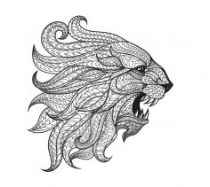 Ethnic patterned head of Lion CDR File