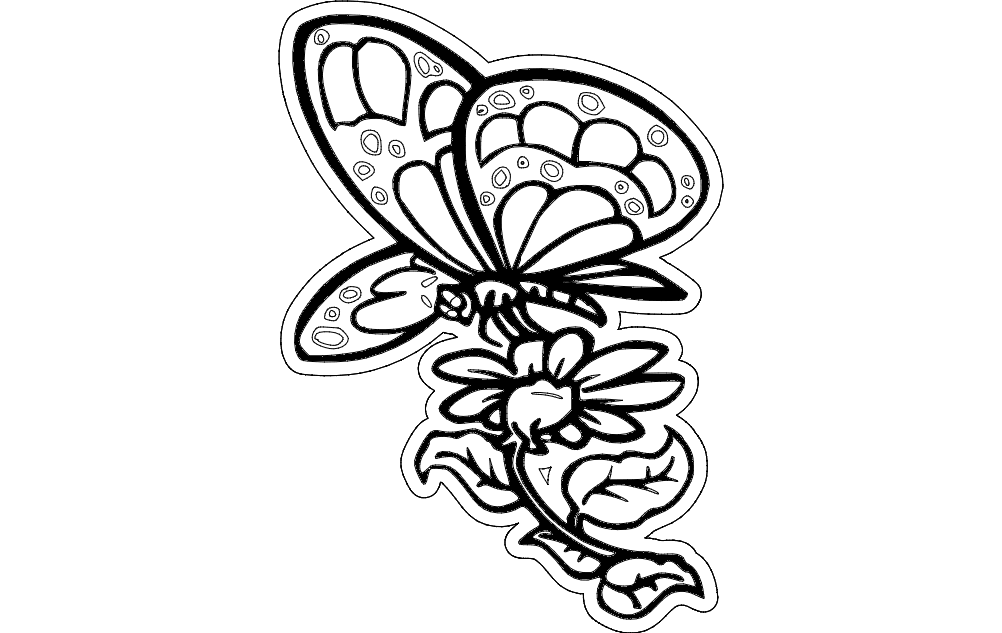 Butterfly With Flower Dxf File Free Download 3axis Co