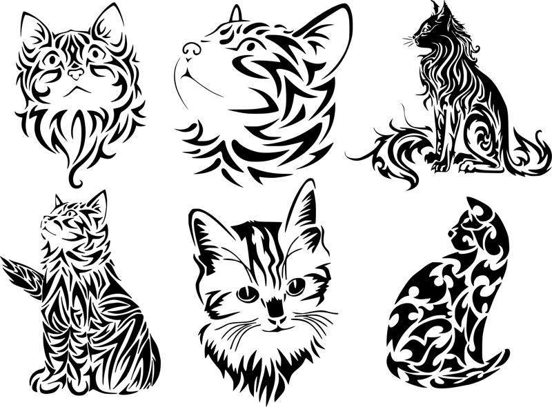 Tribal Cat Tattoo Vector Art Free Vector Cdr Download