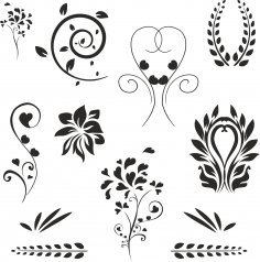 Floral Decoration Set Free Vector