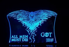 Laser Cut All Men Must Die Game Of Thrones Acrylic 3d Lamp Free Vector