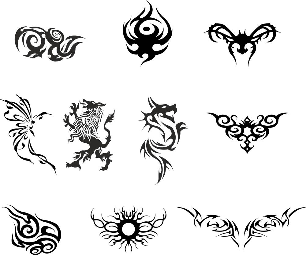 Silhouette Dragon Tattoo Vector Set CDR File