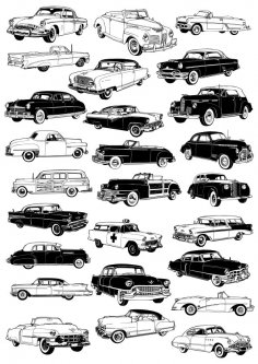 Retro cars vector set CDR File