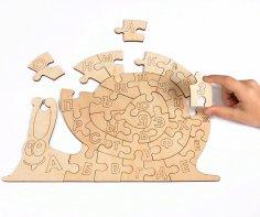 Snail Alphabet Jigsaw Puzzle Template vector CDR File