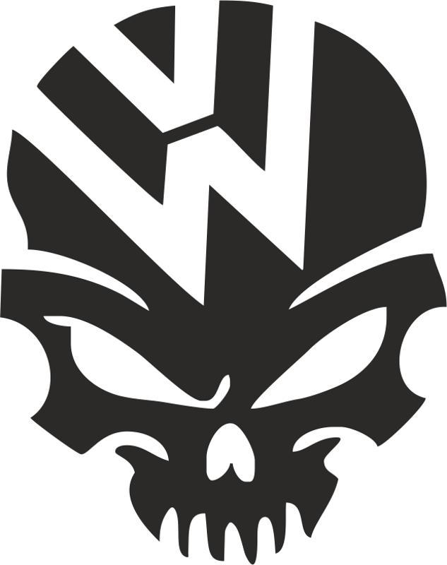 vw volkswagen logo skull vector free vector cdr download