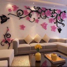 Wall Decoration Floral Design Free Vector