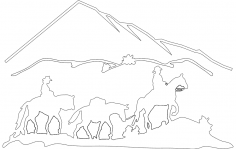 Horses n mountains dxf File