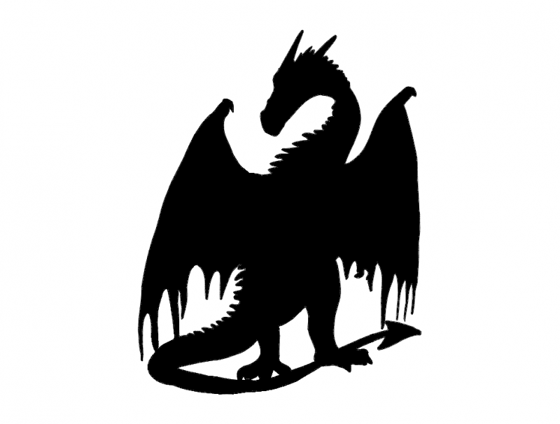 Dragon Silhouette dxf File Free Download - 3axis.co