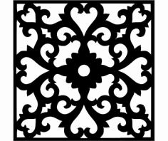 Flower Wall Border Stencil Template dxf File