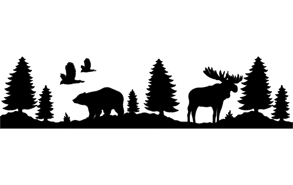 bear and moose dxf File Free Download - 3axis.co