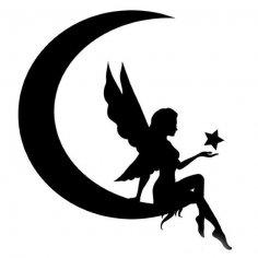 Fairy Silhouette Vector dxf File