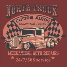 North Truck Design Vector CDR File