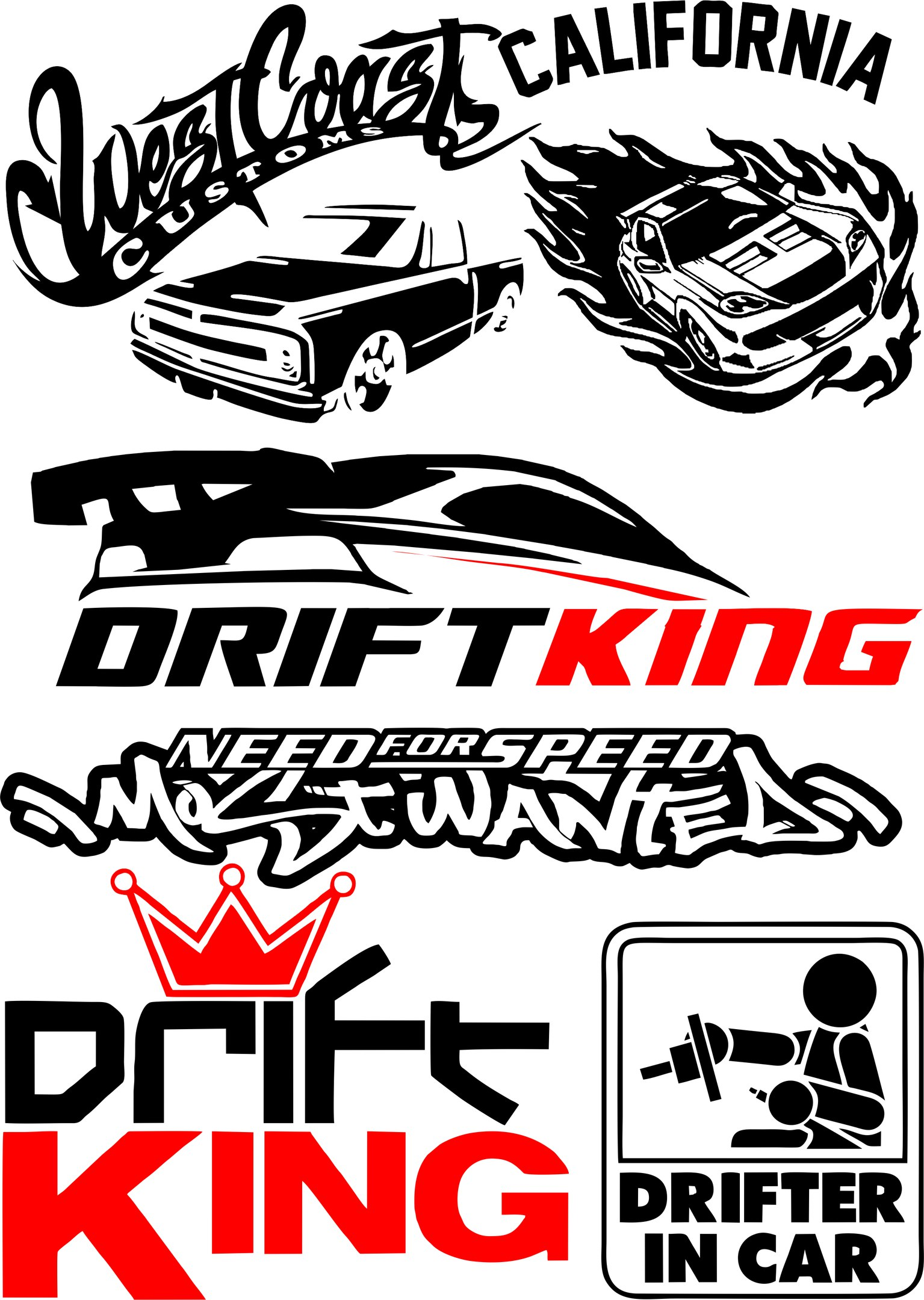 Vinyl Stickers Drift In Car Vector Pack Free Vector Cdr
