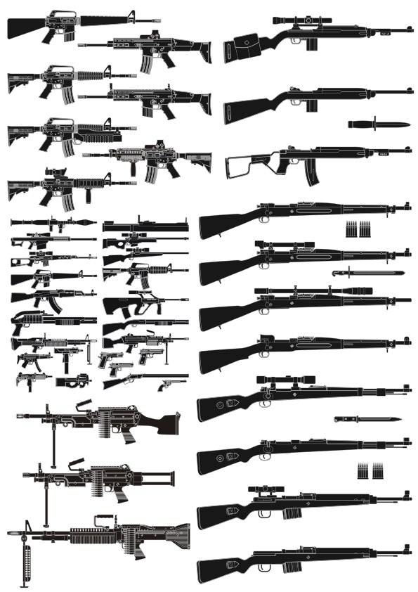 Weapons silhouettes vector pack CDR File
