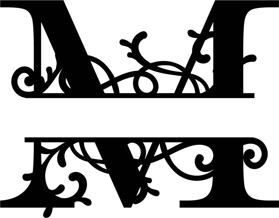 Flourished Split Monogram M Letter Eps Free Vector Download 3axis Co