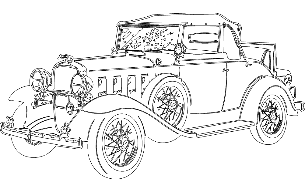 Vintage Car DXF File Free Download - 3axis co