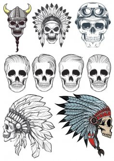 Indian Skull Vectors Pack CDR File