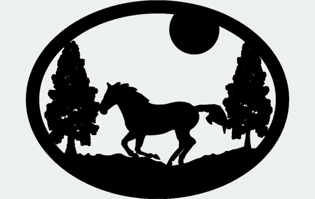 Oval Horse Trees Moon Dxf File Free Download 3axis Co