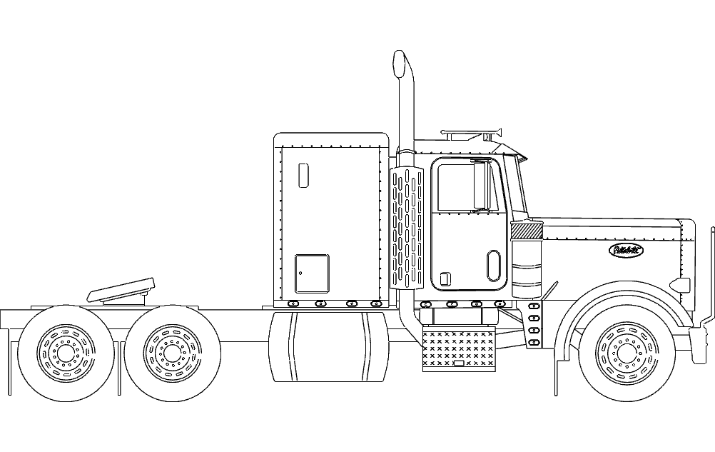 coloring pages of 18 wheelers trucks | 18 Wheeler Truck dxf File Free Download - 3axis.co