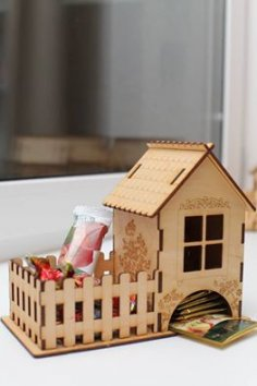 Laser Cut Tea House With Candy Box 3mm Free Vector