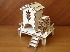 Laser Cut Watermill Tea House Free Vector