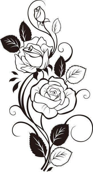 Rose Vine Drawing Vector Art dxf File Free Download - 3axis.co