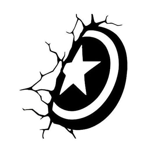 Captain America Shield Wall Decal Avenger Sticker Dxf File Free