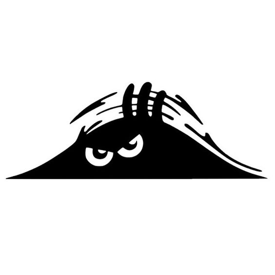 Peeking Monster Scary Eyes Car Decal Sticker Dxf File Free