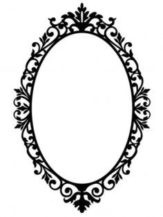 Ornate Oval Frame Wall Sticker / Wall Decals dxf File