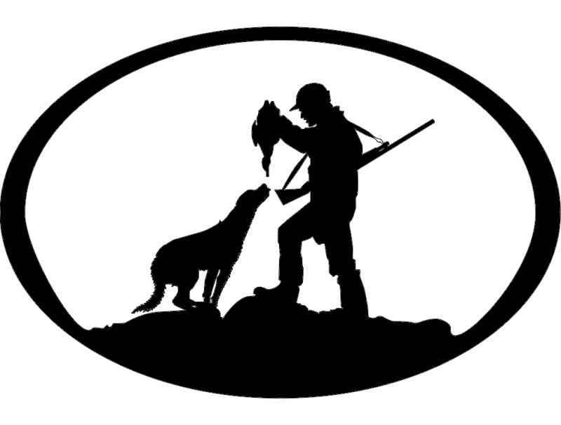Duck Hunter n Dog Oval Svg dxf File Free Download