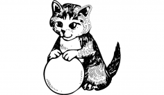 Cat with Ball dxf File