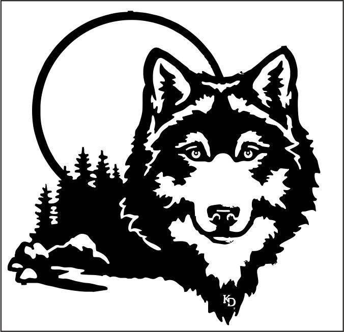 Moonlight Wolf Wall Art Coreldraw Vector ( cdr) file free download