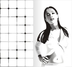 Black and white girls on white background in vector Free Vector
