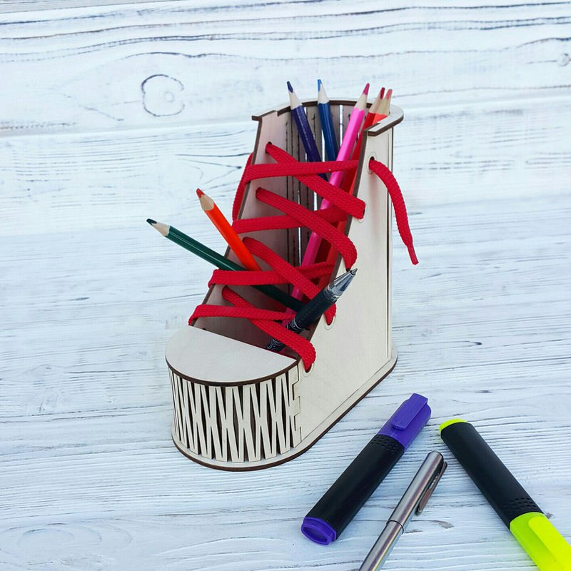 Boot Desk Organizer Pen Pencil Holder CDR File
