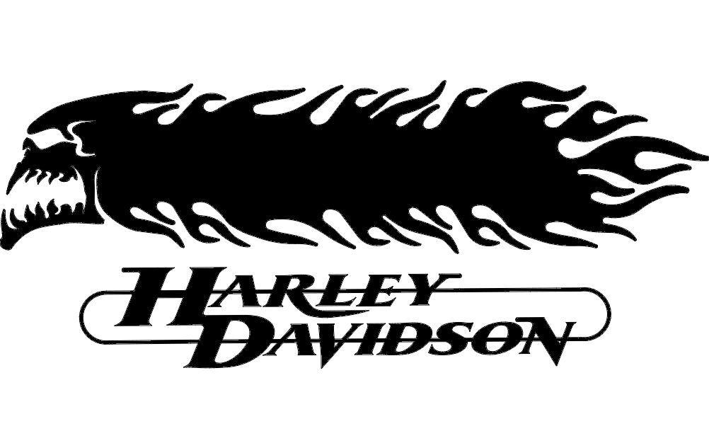 Harley Davidson Skull And flames 3d dxf File