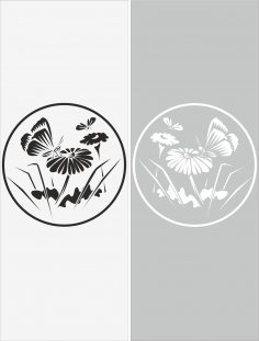 Glass Floral Sticker Decal Vector CDR File