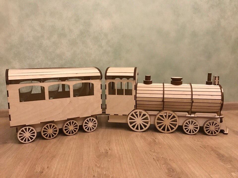 Wooden Gift wrap-lokomotive 3d puzzle CDR File