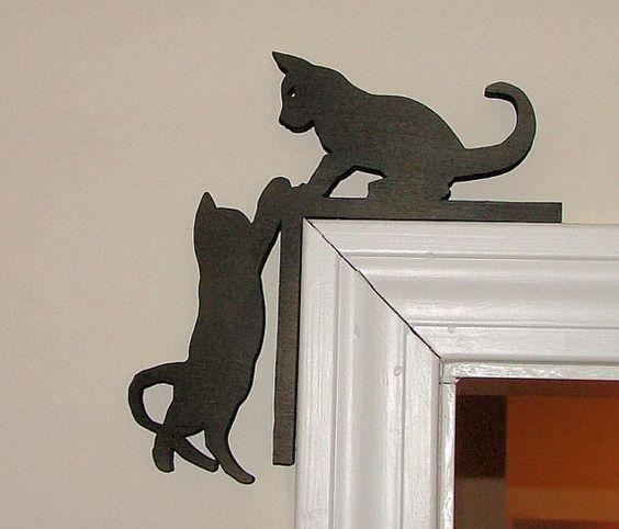 Cute Kitten Silhouette Door Topper CDR File & Cute Kitten Silhouette Door Topper Coreldraw Vector (.cdr) file free ...
