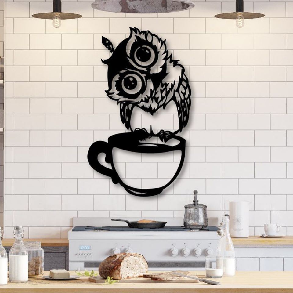 Laser Cut Kitchen Wall Art Owl Sitting On Cup Free Vector Cdr Download 3axis Co
