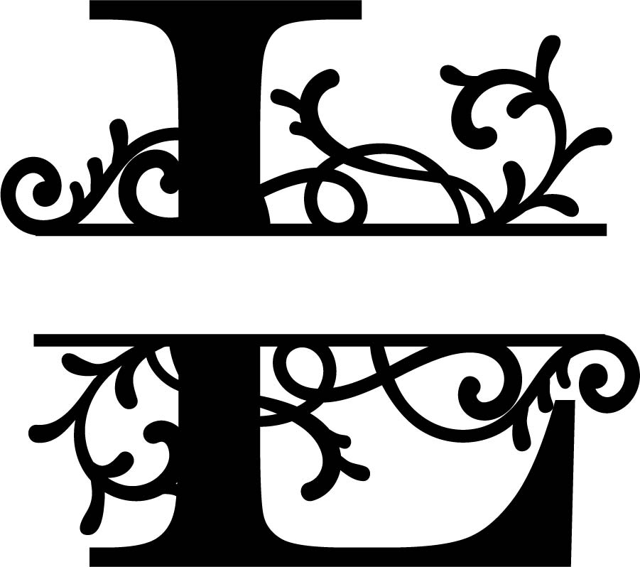 Split Monogram Letter L DXF File Free Download   3axis.co