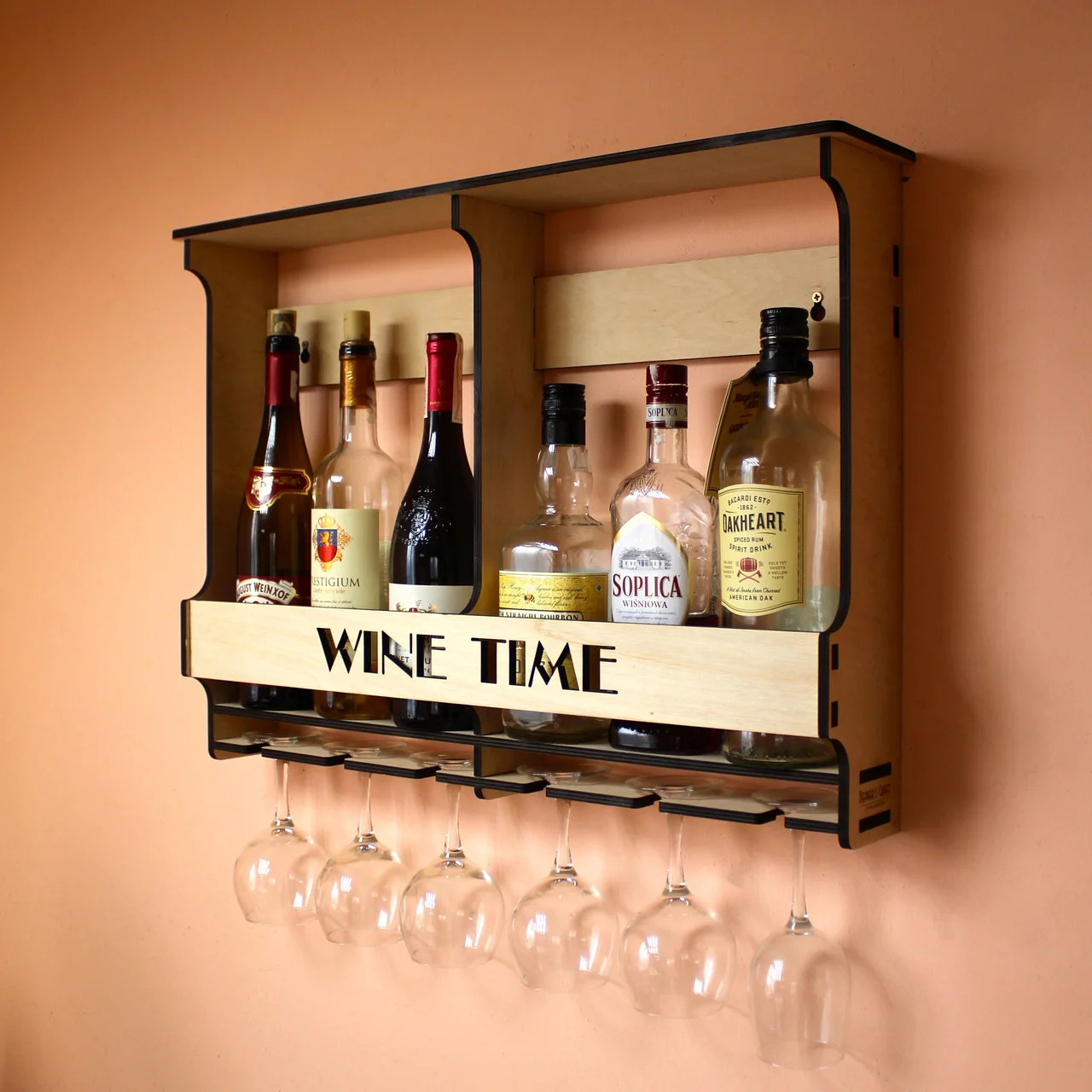 Laser Cut Wall Mounted Wine Rack Mini Bar Liquor Cabinet Minibar