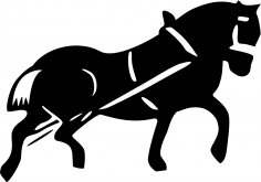 Cart Horse Vector Silhouette CDR File