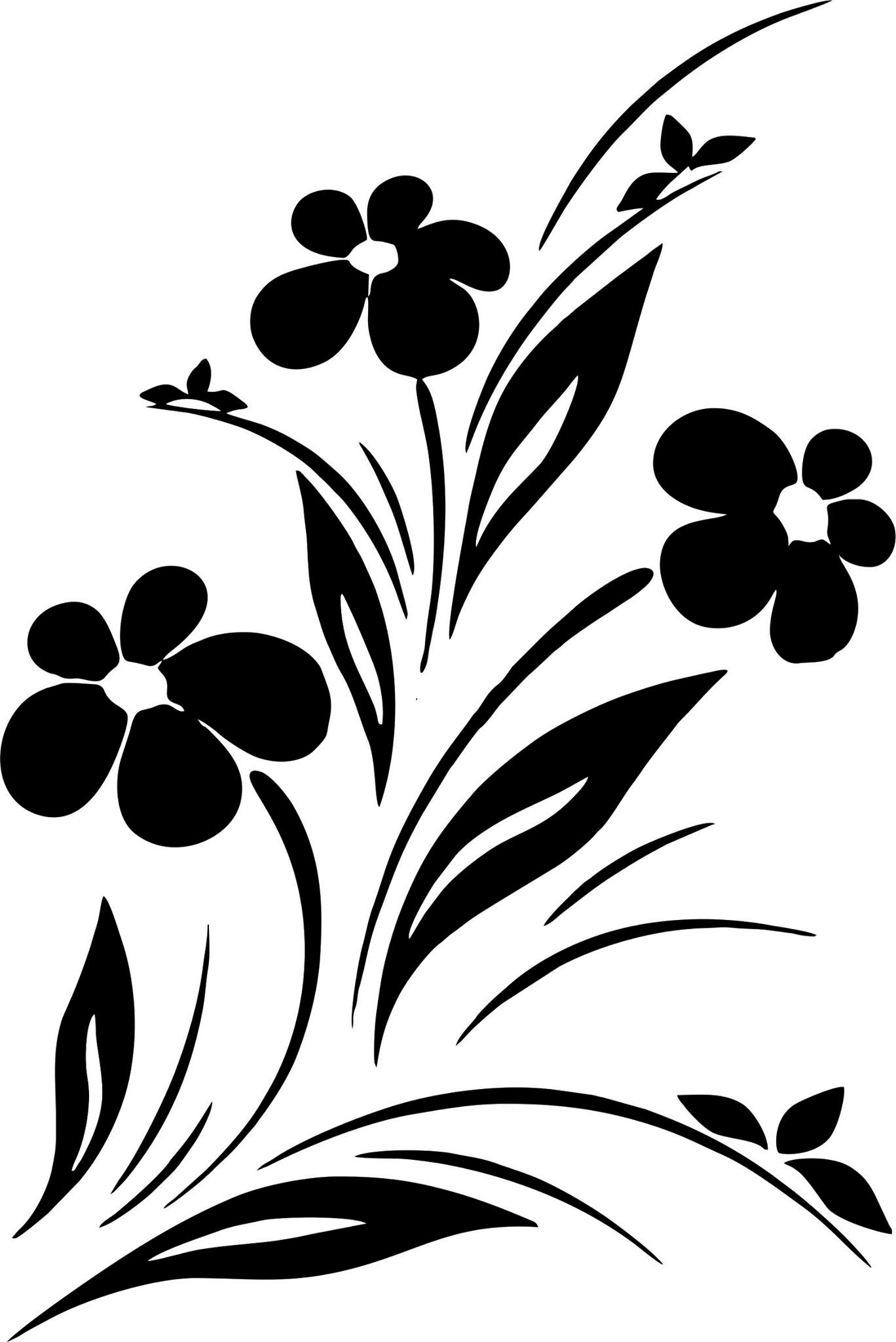 Simple Flower Designs Black And White Vector Art Jpg Image Free