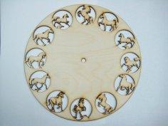 12 Horses Clock CDR File