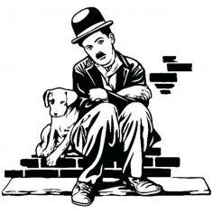 Charlie Chaplin Charlot Dog life Sticker dxf File