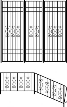 Wrought iron stair railing design vector art CDR File