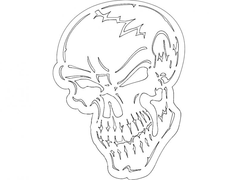 Badass Skull Fraser dxf File